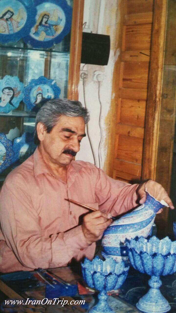 Mr. Akbar Ehtemam One of the most famous Enamelling or Minakari Artists in Iran