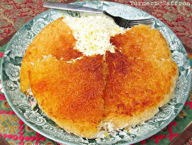 Persian Rice and Golden Potato Crust (Ta-dig)
